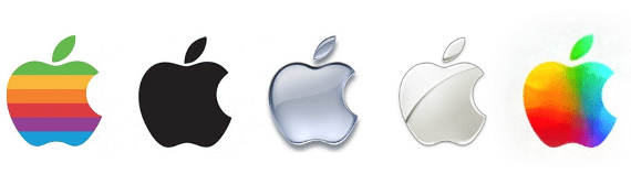 Example of Apple's logo changes to accommodate design trends