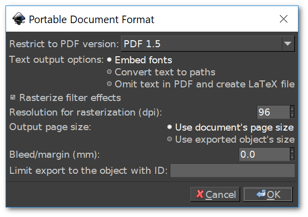 PDF save menu in Inkscape