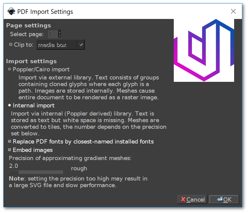 Inkscape menu for importing PDF documents