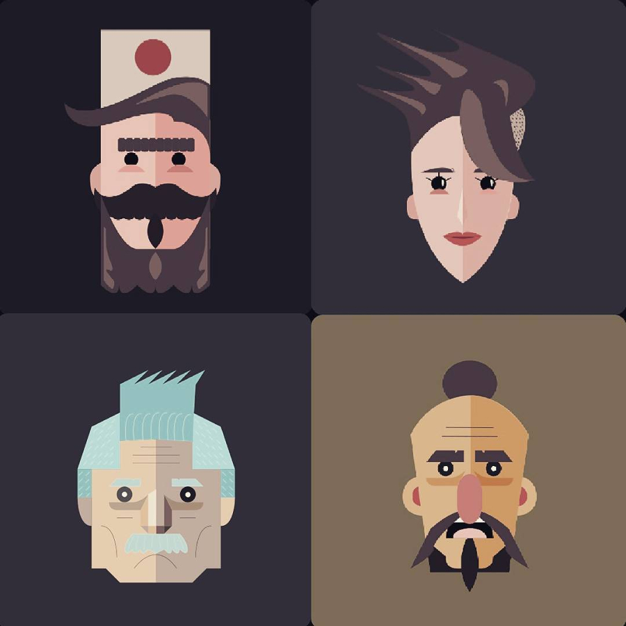 Flat avatars made with Inkscape