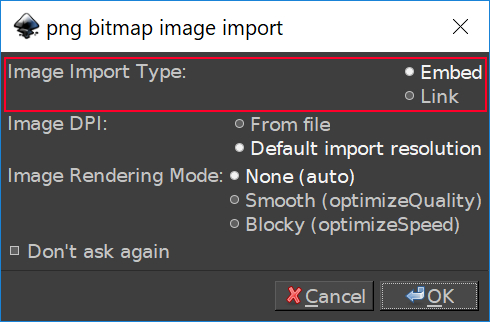 The import menu in Inkscape