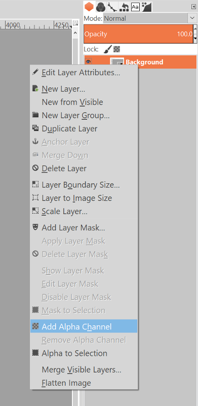 Adding an alpha channel in GIMP