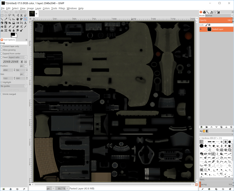 Weapon skin opened in GIMP