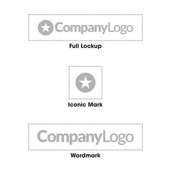 Three different logo structures