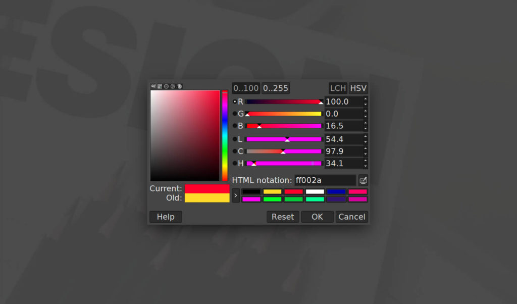 GIMP color menu opens off screen