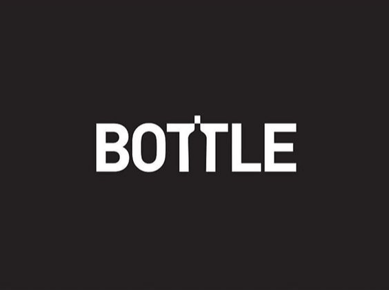 Bottle negative space typography