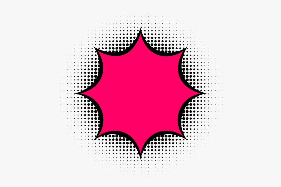 Star with black outline and placed above halftone pattern