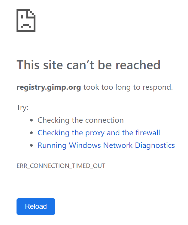 Registry error on the download page