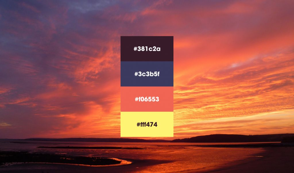 Beach sunset color palettes