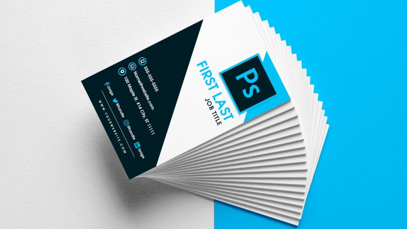 Free vertical business card template in PDF format