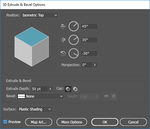 The extrude and bevel menu in Illustrator