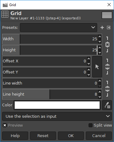 GIMP render grid menu