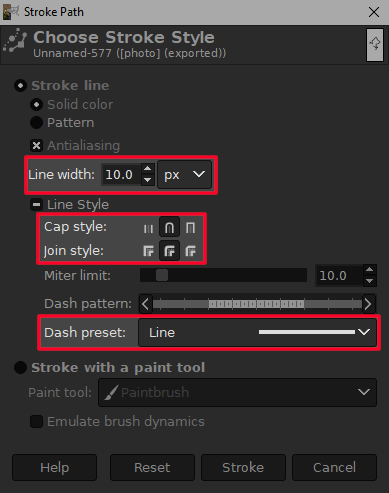 Stroke path menu in GIMP
