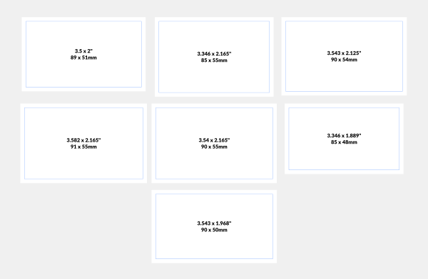 Business card size templates