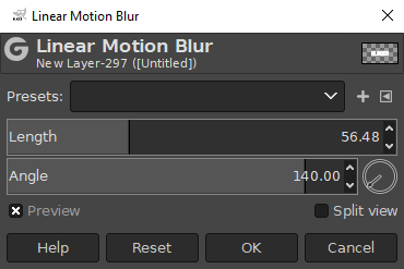 Linear motion blur menu