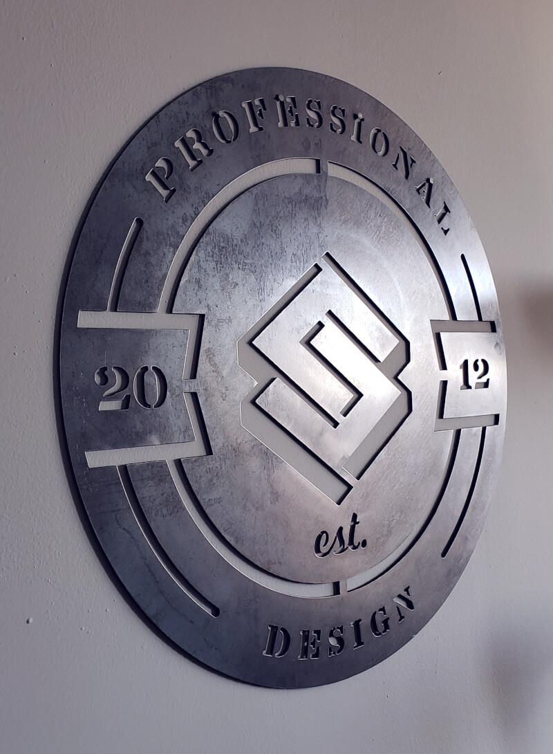 Steel sign logo