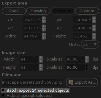 Batch export menu