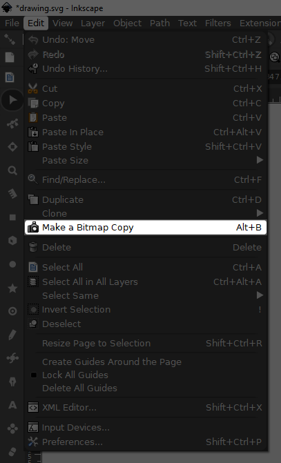 Bitmap copy menu