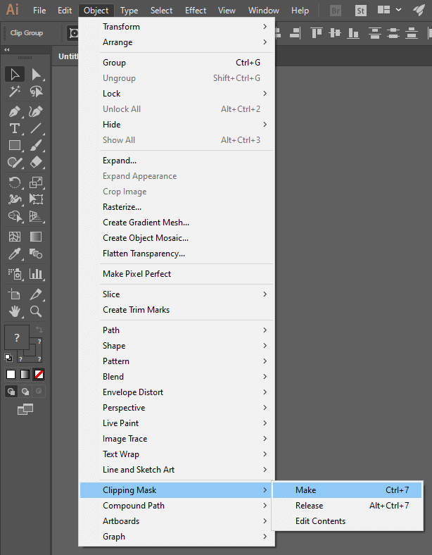 Menu pathway for making a clipping mask