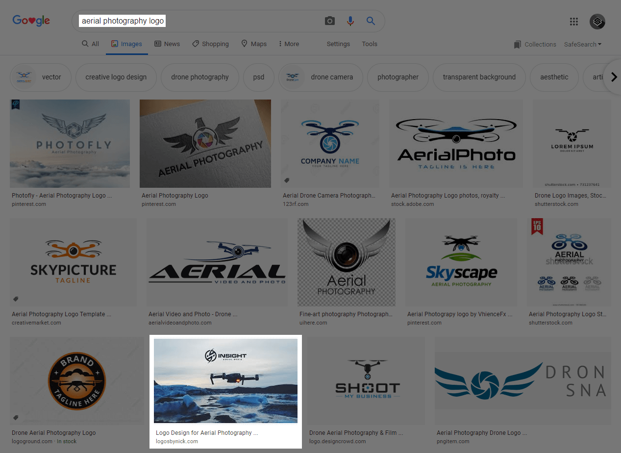 Image search results page