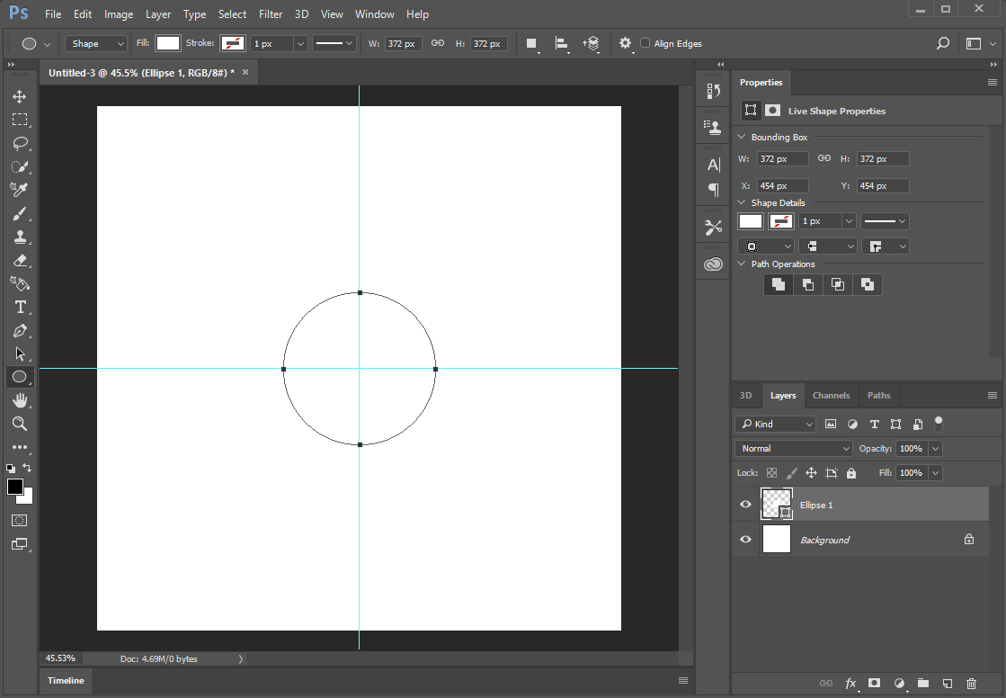 New circle in the center of the canvas