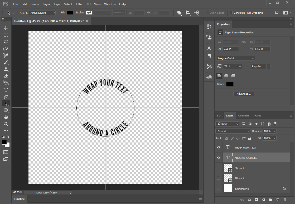 Finished text around circle