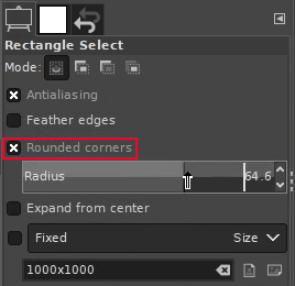 Rounded rectangle settings
