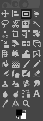 All tool icons displayed in GIMP