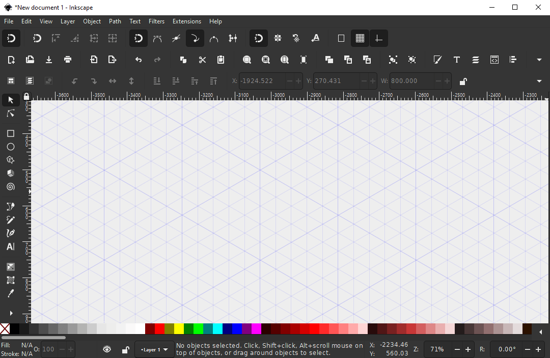 Inkscape with an isometric grid added