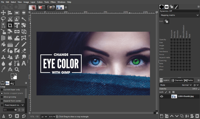 Changing eye color