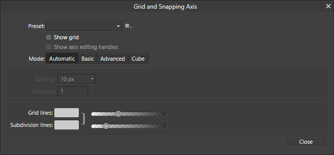 The grid and axis menu