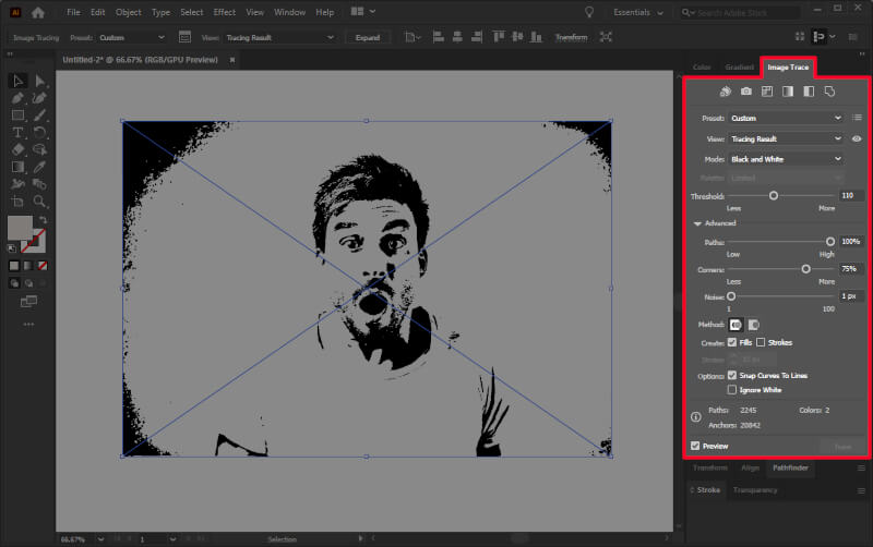 Creating a vector tracing of an image