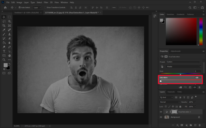 Removing the saturation with Photoshop