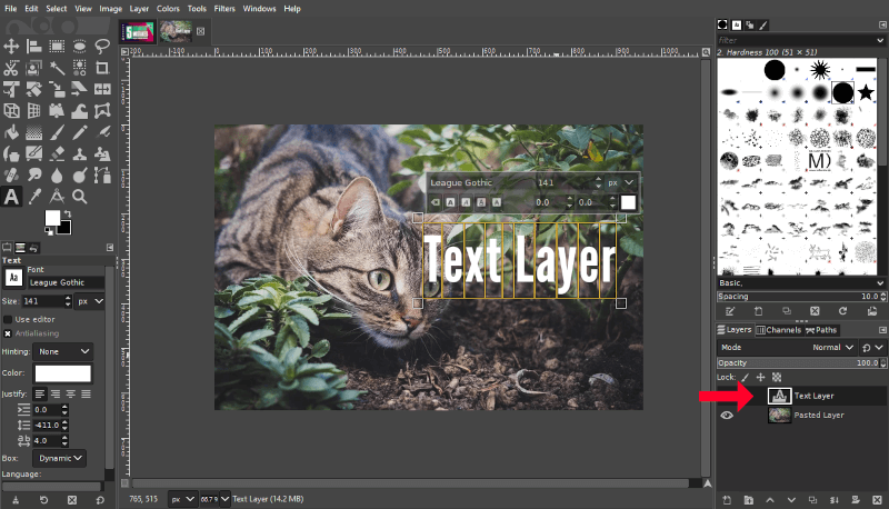 Layer with text