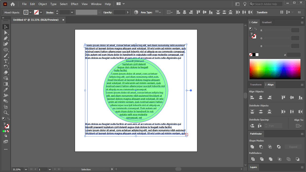 Text inside of a shape