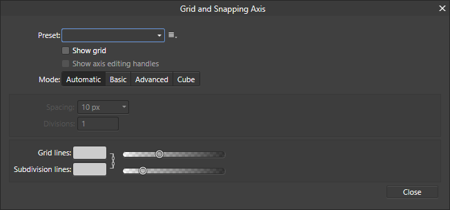 Grid and Axis Manager