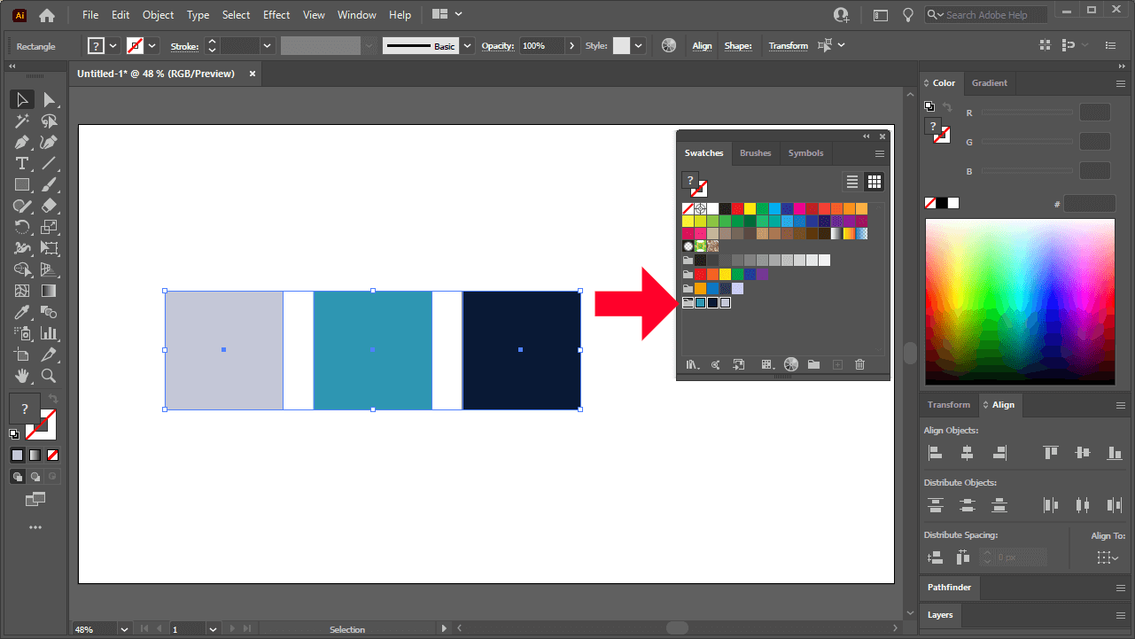Swatches menu with group