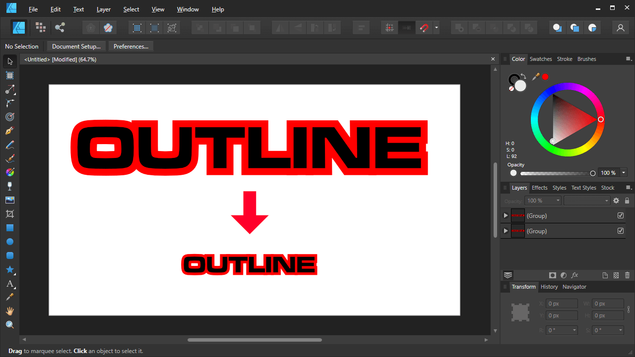 Finished outline text