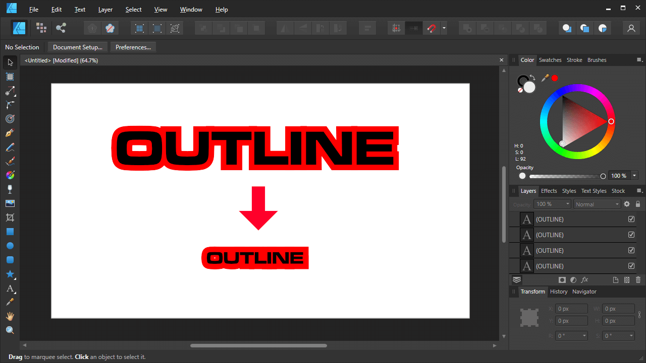 Outline sizes
