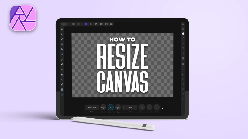 How to resize the canvas in Affinity Photo for the iPad