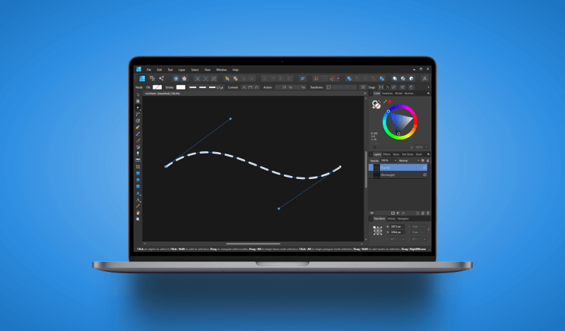 Create dotted lines with Affinity Designer