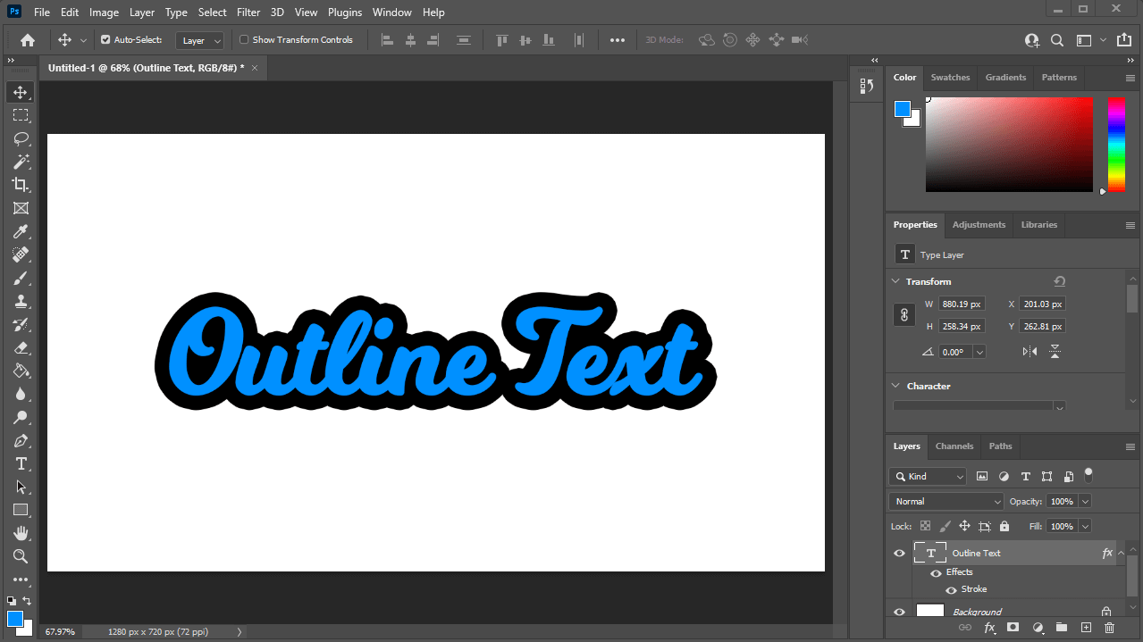 Outlined text